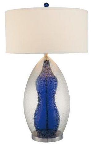 Blue Seeded Glass Table Lamp Light Source Etc